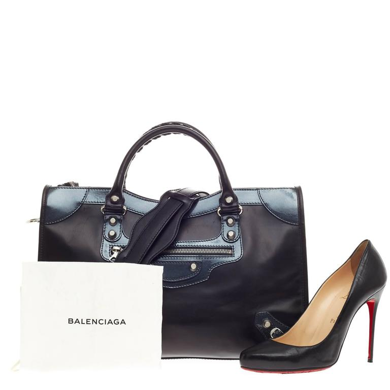 8696a55ffc This authentic Balenciaga Holiday City Giant Studs Matte Calfskin Medium  presented in designer Alexander Wang's 2015