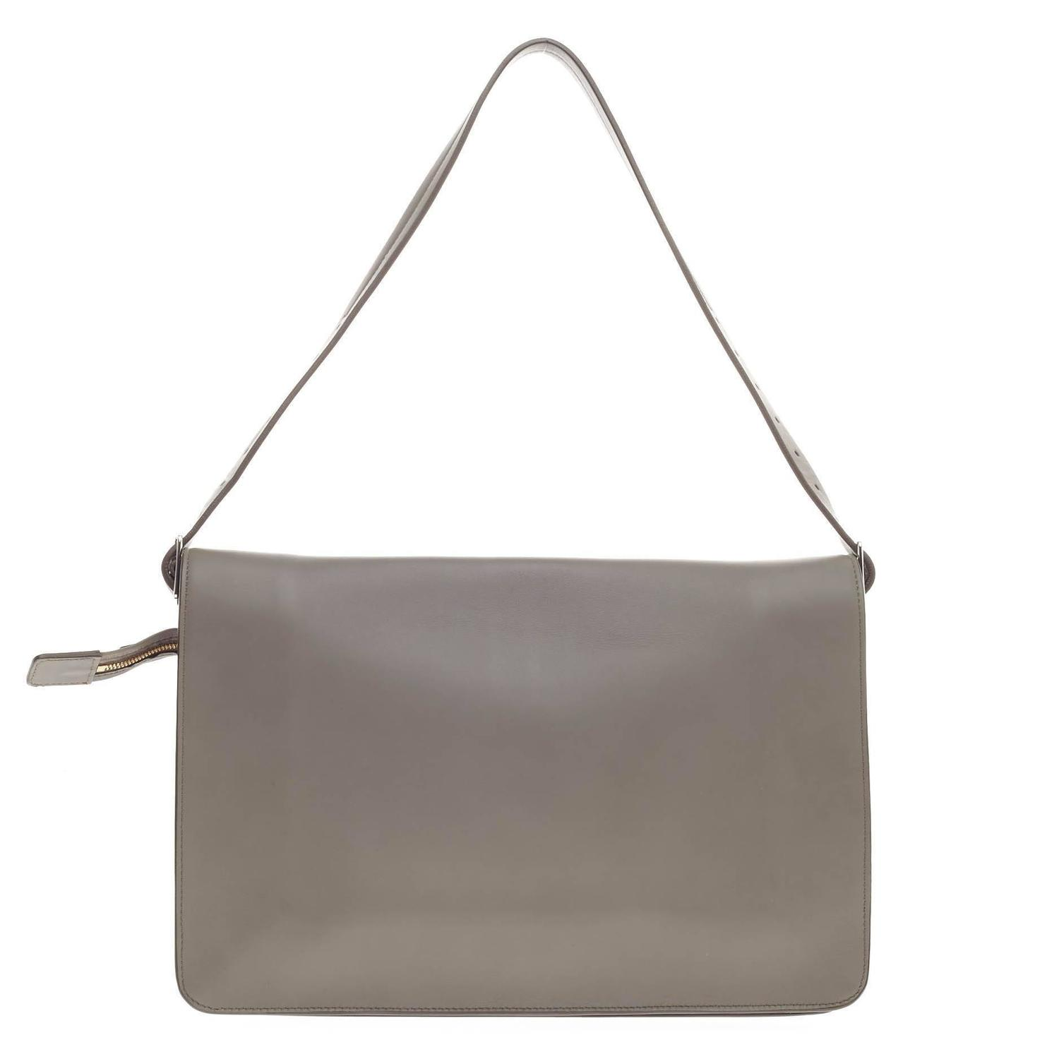 celine tote bag for sale - Celine Clasp Foldover Shoulder Bag Leather Medium at 1stdibs