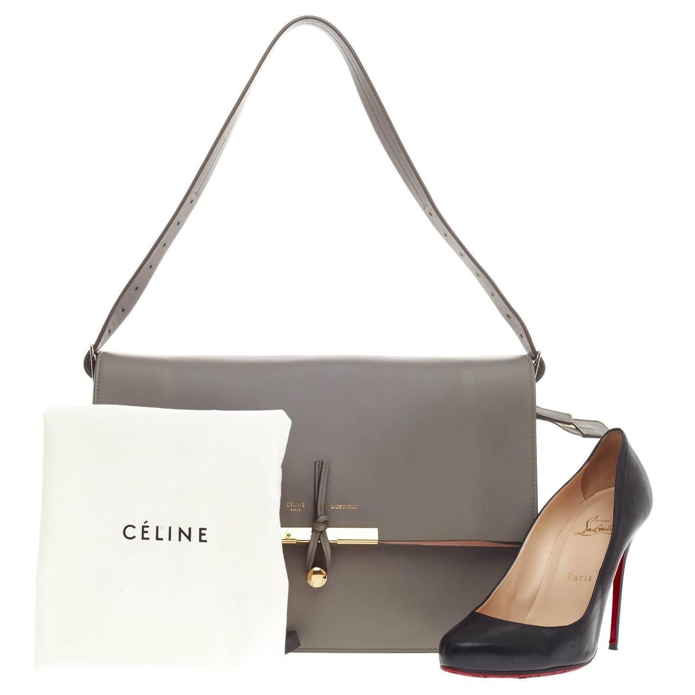 Celine Clasp Foldover Shoulder Bag Leather Medium at 1stdibs