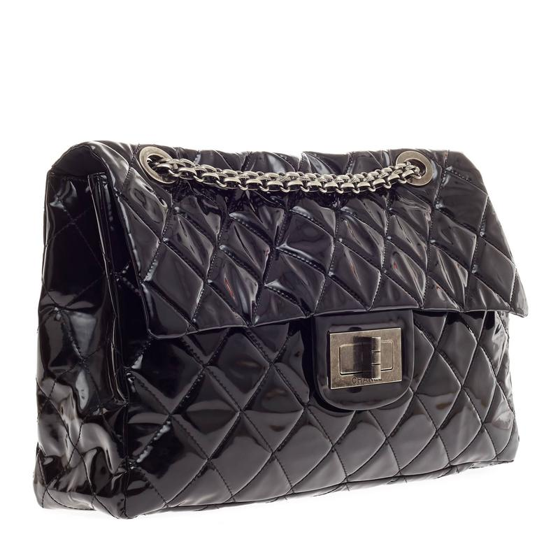 39fc51128a1d This authentic Chanel Reissue 2.55 Quilted PVC XXL released in the brand s  2009 Collection a hard. Black Chanel Reissue 2.55 Quilted PVC XXL For Sale