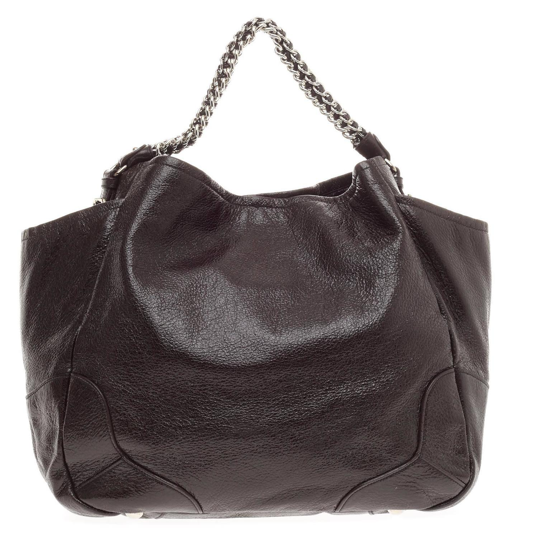 Prada Cervo Lux Chain Hobo Prada Leather
