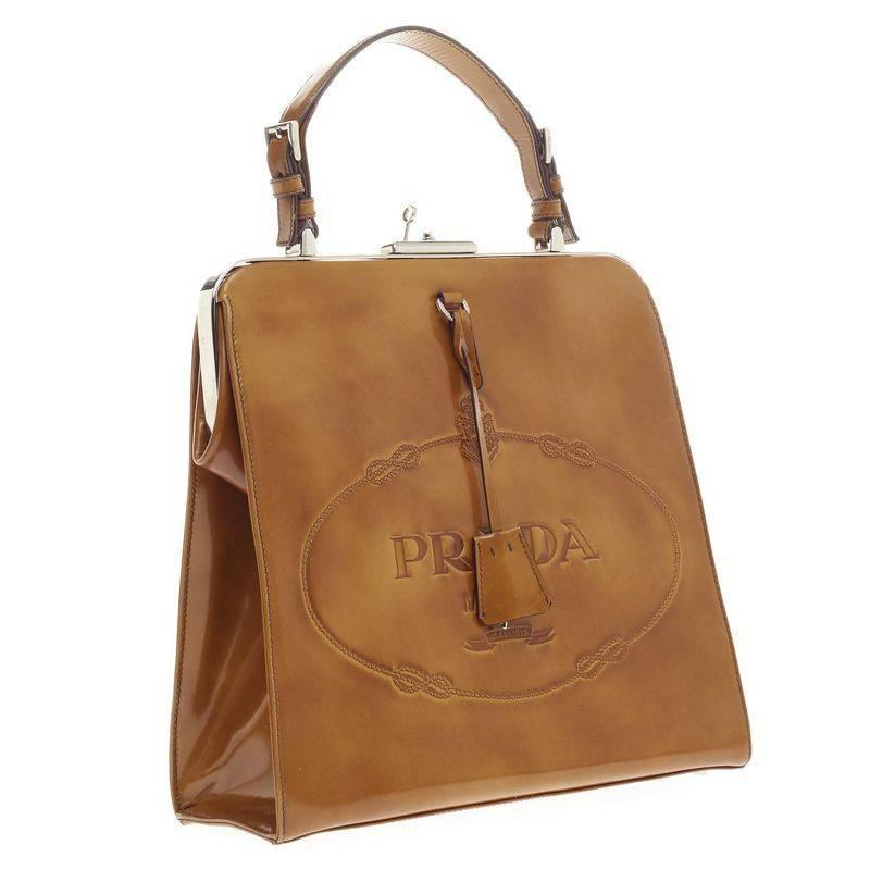 prada leather-accented handle bag
