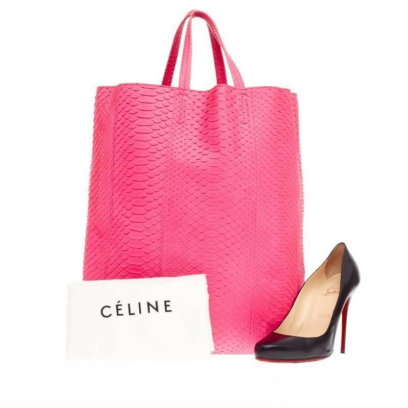 celine pink purse - Celine Vertical Cabas Tote Python Large For Sale at 1stdibs
