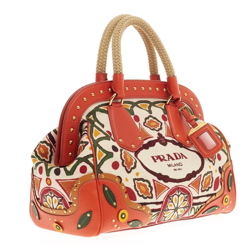 prada logo-embellished canapa shoulder bag