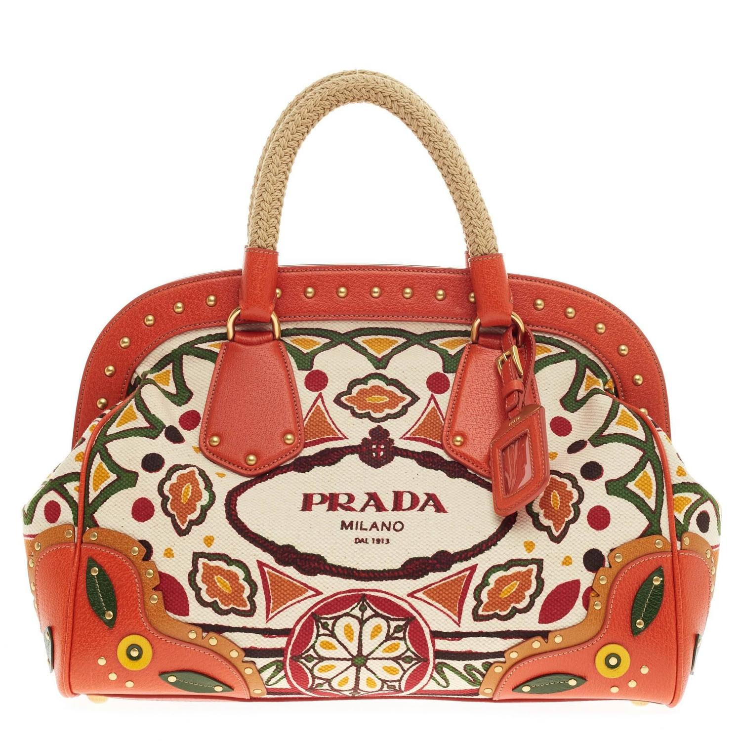 prada canapa leather handle bag