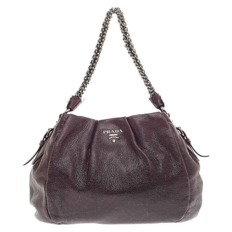Prada Lux Chain Strap Shoulder Bag Cervo Leather Medium at 1stdibs 4bc3445def3f3