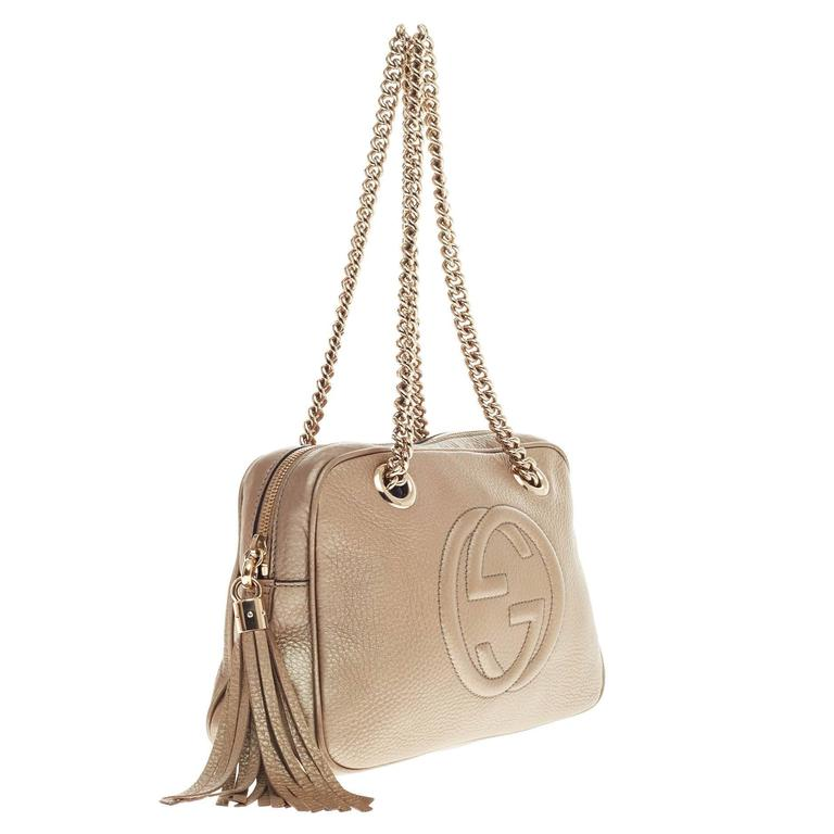 Beige Gucci Soho Chain Zipped Shoulder Bag Leather Small For
