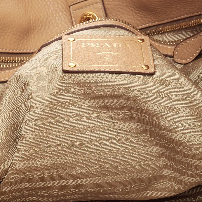 Prada Side Zip Shopper Tote Vitello Daino Large at 1stdibs