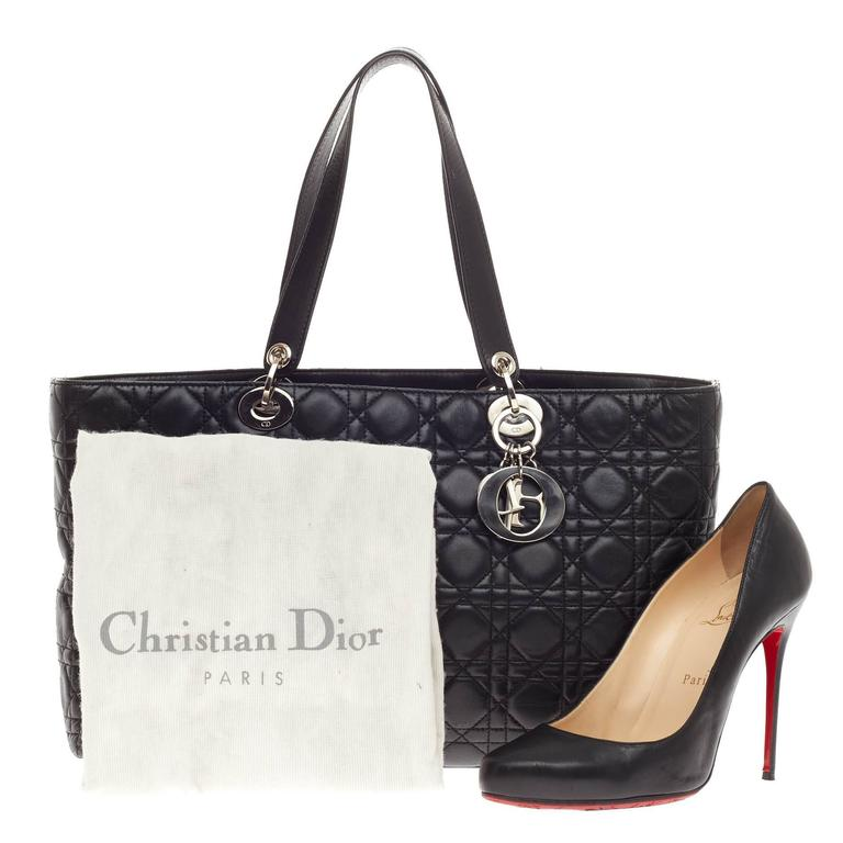 8c1676d9ce40 This authentic Christian Dior Lady Dior Tote Cannage Quilt Lambskin Large  is a classic staple that