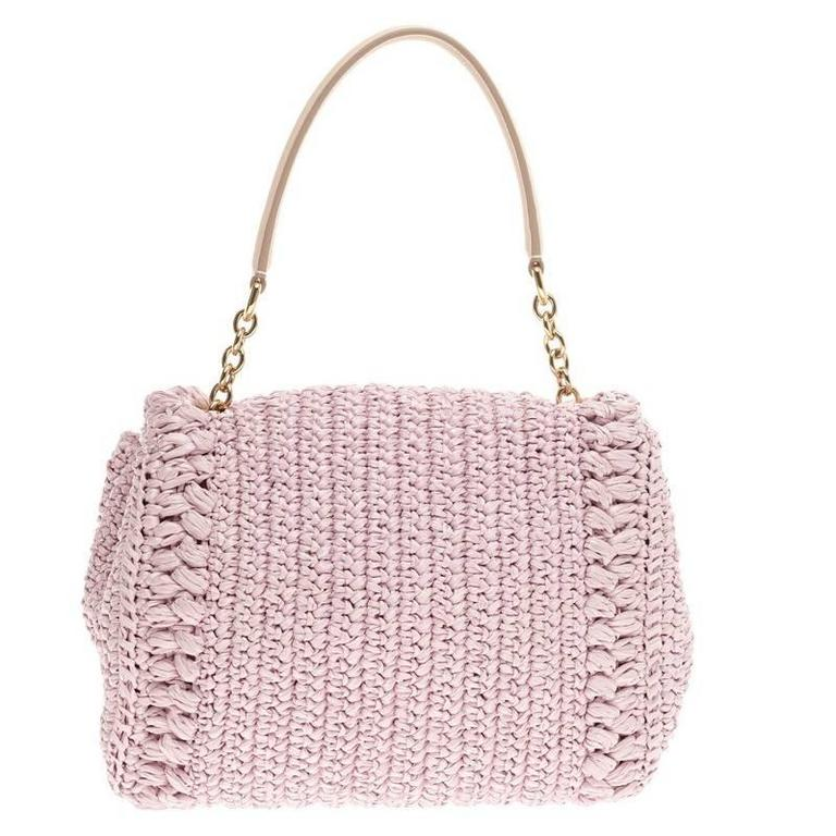 Dolce   Gabbana Miss Bonita Satchel Embellished Woven Straw Medium In Good  Condition For Sale In cf40961b88