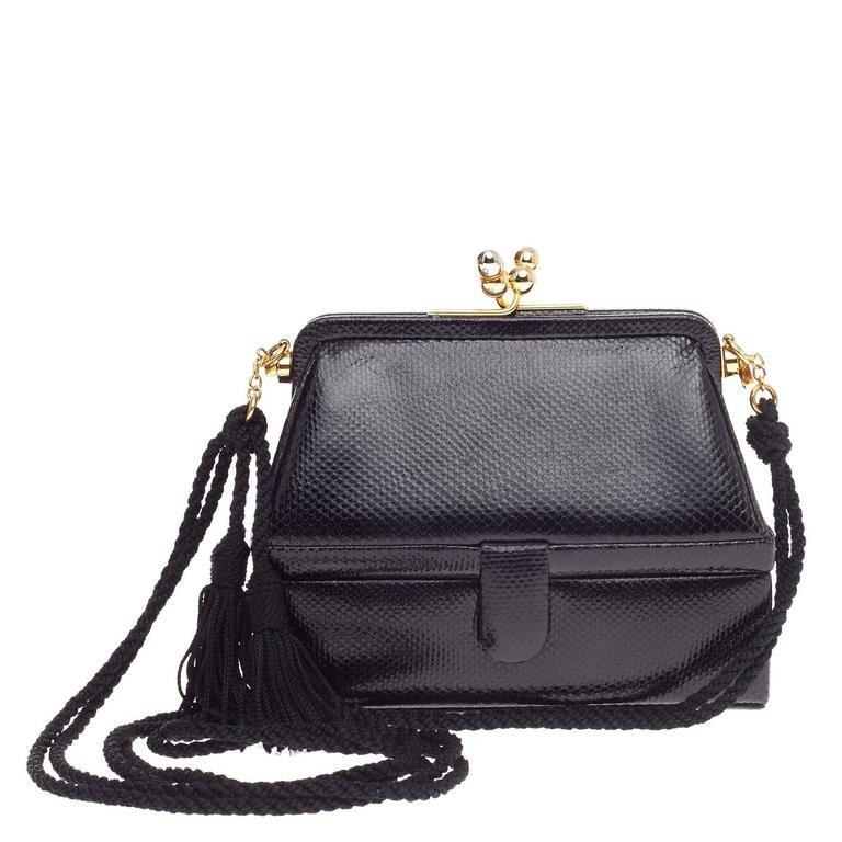 Judith Leiber Black Quilted Silk Evening Bag, Circa 1980s