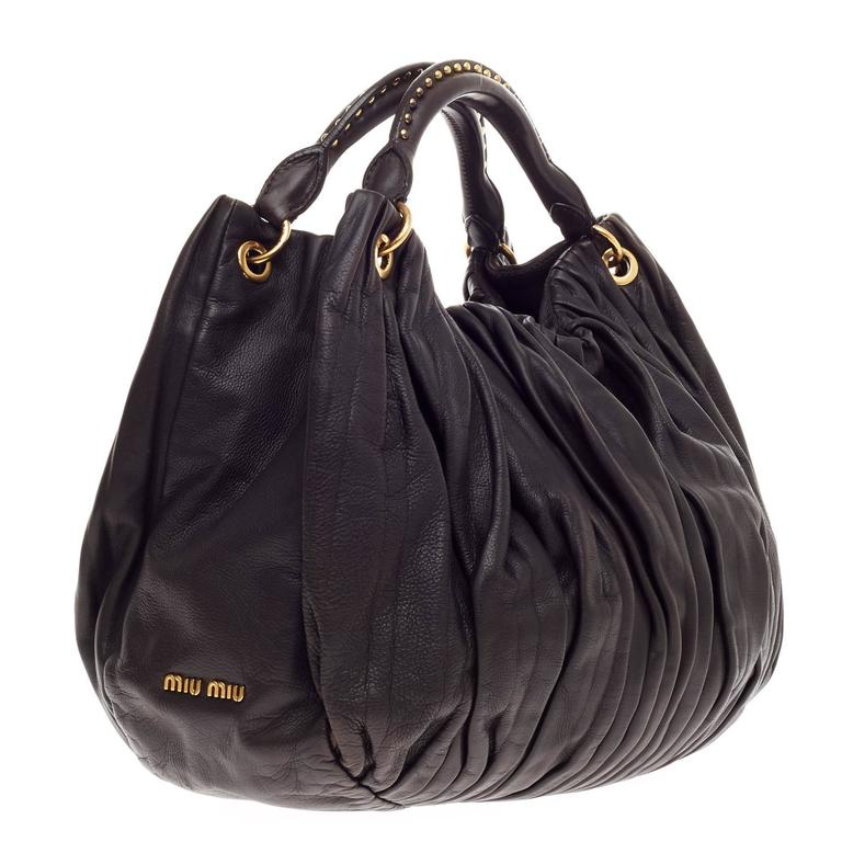 Miu Miu Bosco Convertible Hobo Pleated Leather Large In Good Condition For  Sale In New York fc1287e2e9