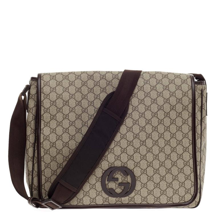 9869421c679 Gucci Interlocking G Messenger GG Coated Canvas Large For Sale. This  authentic ...