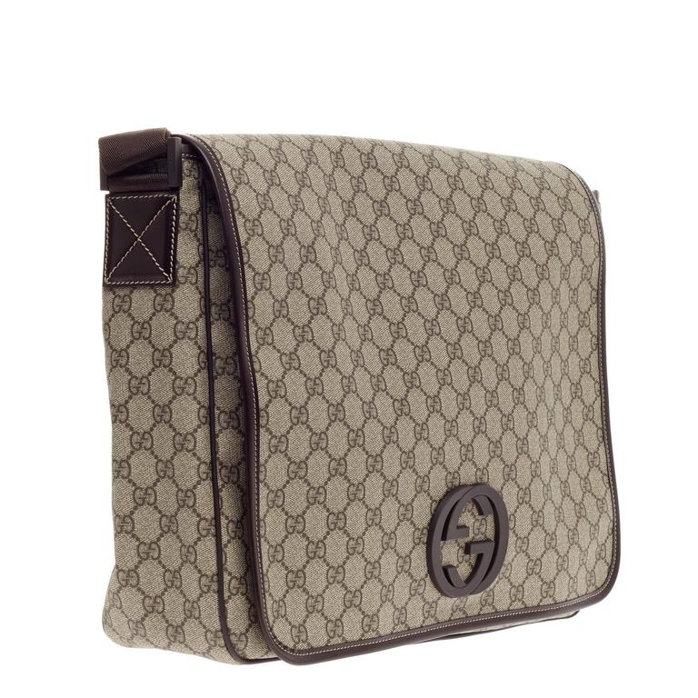 ff72a49ad47 Women s or Men s Gucci Interlocking G Messenger GG Coated Canvas Large For  Sale