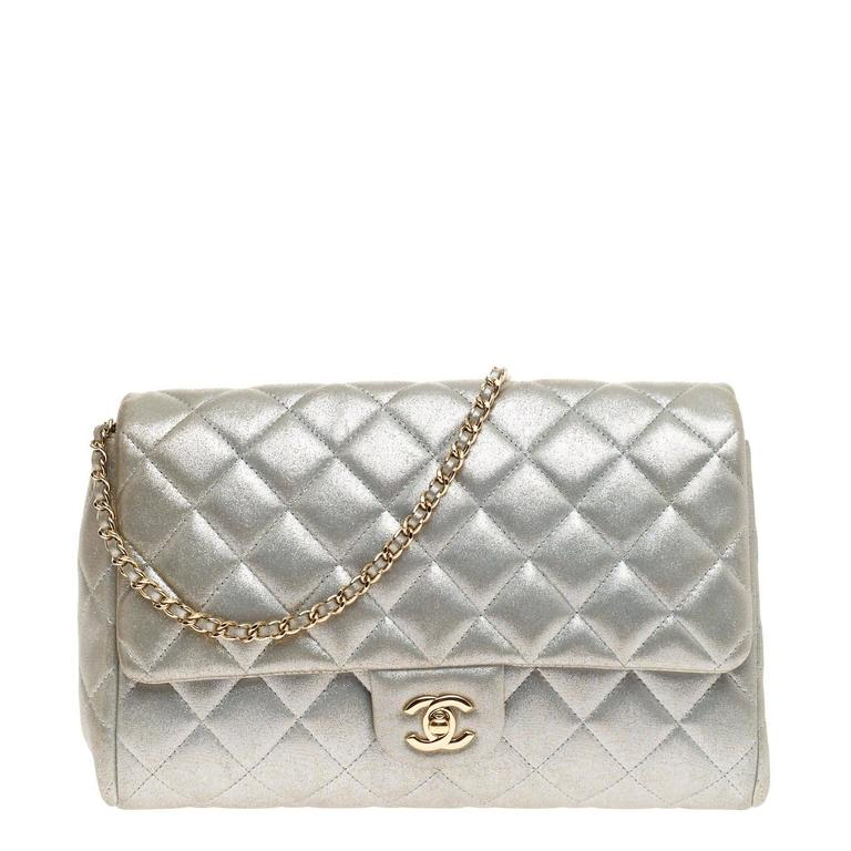 3971c7e054d491 Chanel Clutch with Chain Quilted Pearlescent Calfskin at 1stdibs