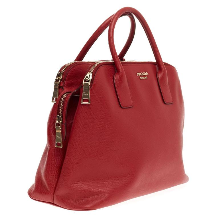 Red Prada Cuir Triple Zip Dome Tote Saffiano Leather For Sale f279129d1c