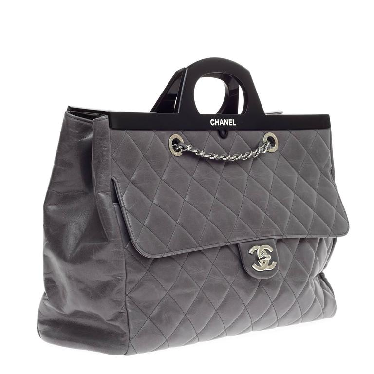 09b5f0dc6cf10b Women's or Men's Chanel CC Delivery Tote Quilted Glazed Calfskin Large For  Sale