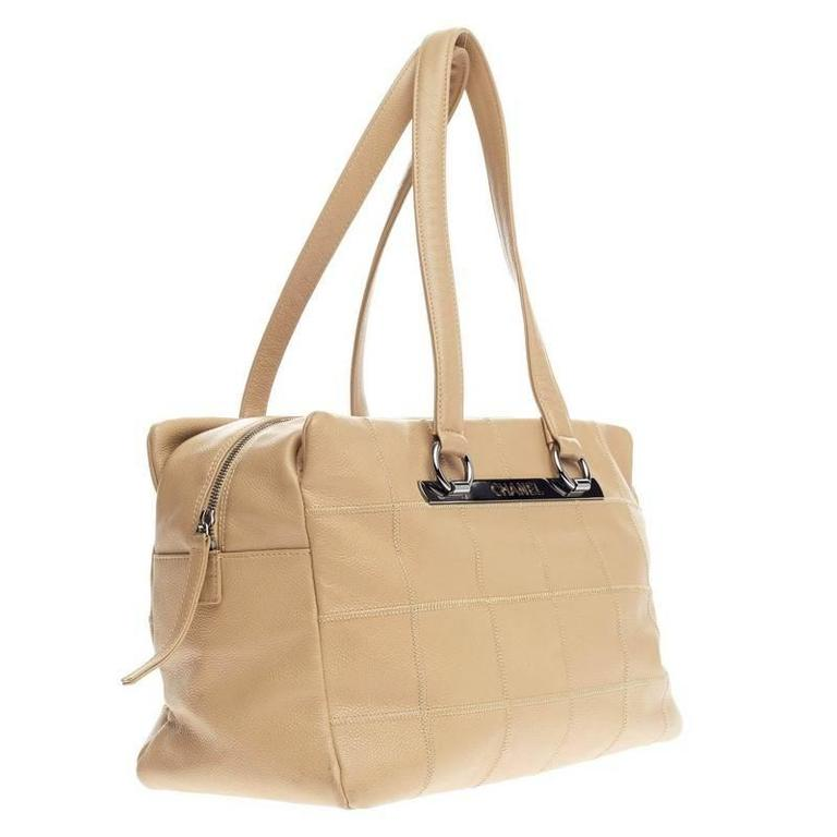 5ee21ad4c189fb Beige Chanel Square Stitch Shoulder Bag Quilted Caviar Large For Sale
