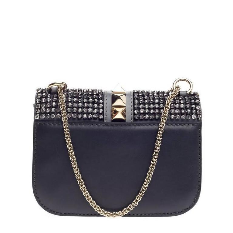 Women's Valentino Glam Lock Shoulder Bag Crystal Embellished Leather Small For Sale