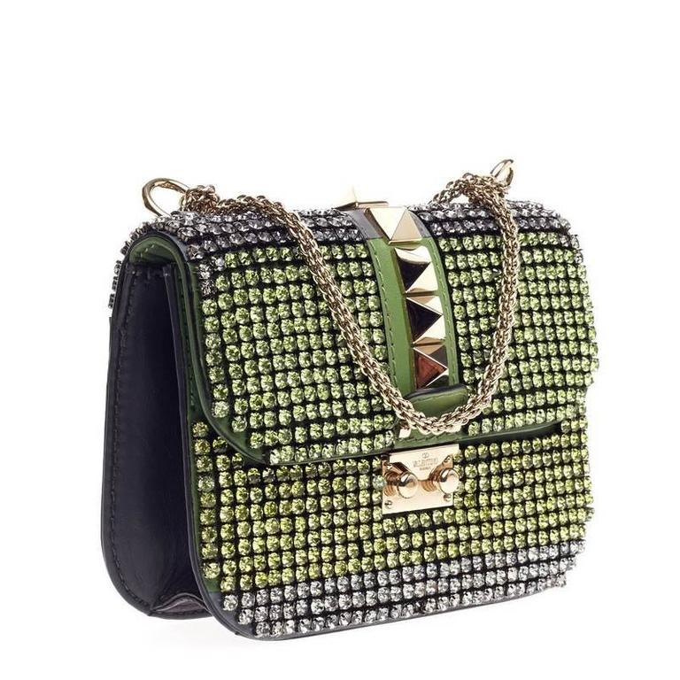 Valentino Glam Lock Shoulder Bag Crystal Embellished Leather Small In Good Condition For Sale In New York, NY