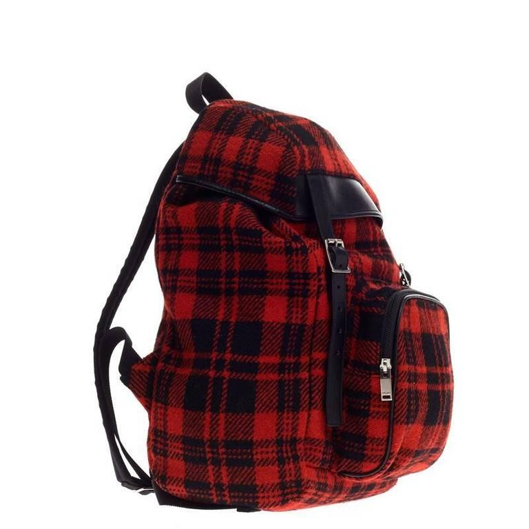 Black Saint Laurent Hunting Backpack Wool For Sale
