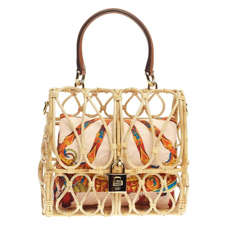 Dolce Gabbana Birdcage Bag Rattan For