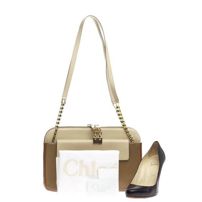 Chloe Lucy Lock Shoulder Bag Leather Medium 2