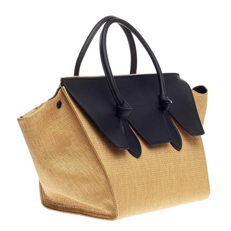 e81632c07 Celine Tie Tote Raffia and Leather Small In Good Condition For Sale In New  York,