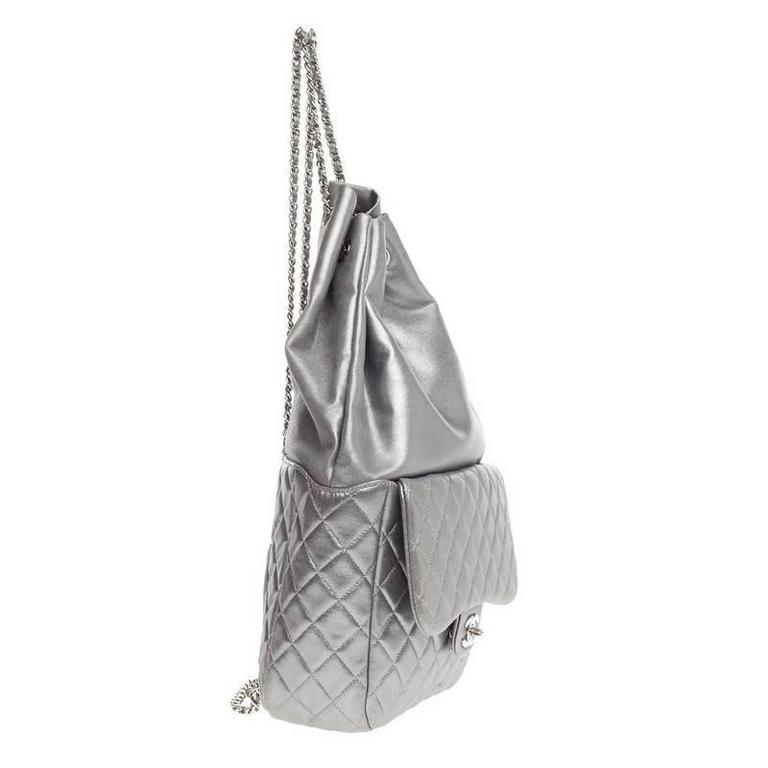 Gray Chanel Backpack In Seoul Lambskin Large For Sale