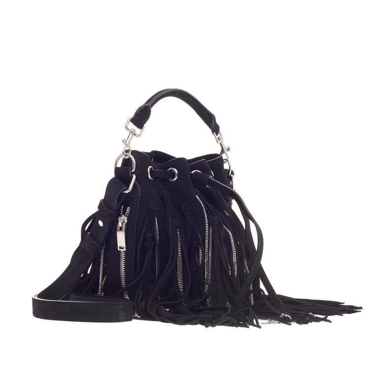 0d5586e57c3 Black Saint Laurent Emmanuelle Bucket Bag Chain Fringe Suede Small For Sale