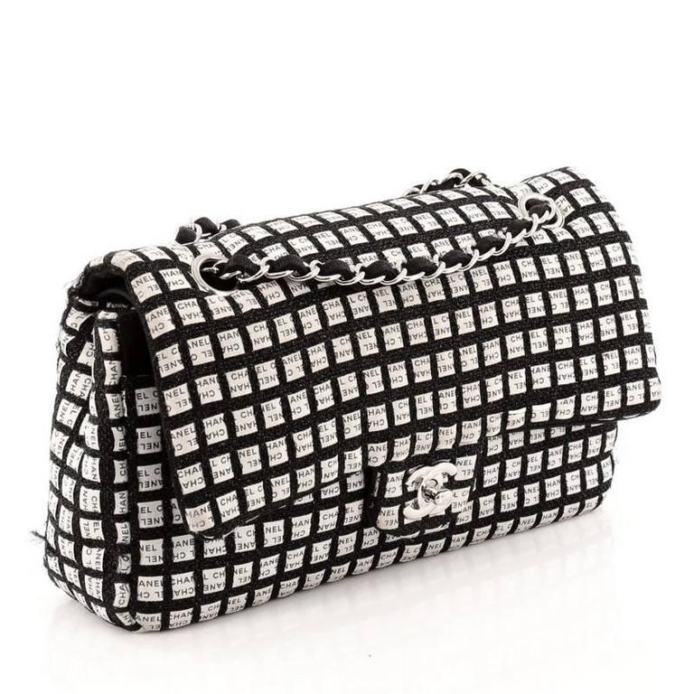 676968e41ade Chanel Classic Single Flap Printed Canvas with Ribbon Tweed Medium In Good  Condition For Sale In