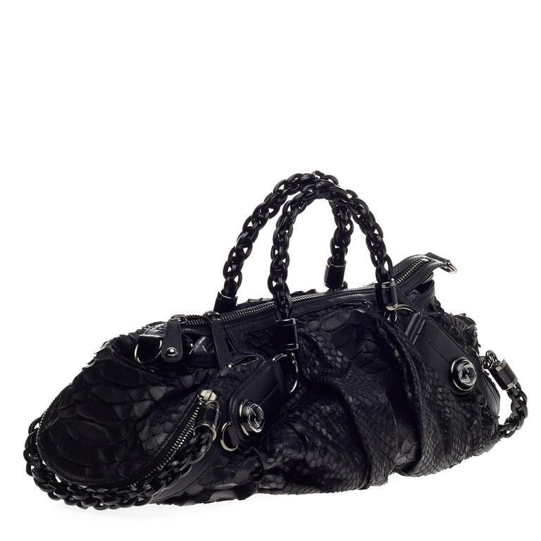 411c53920 Black Gucci Galaxy Convertible Satchel Python Medium For Sale