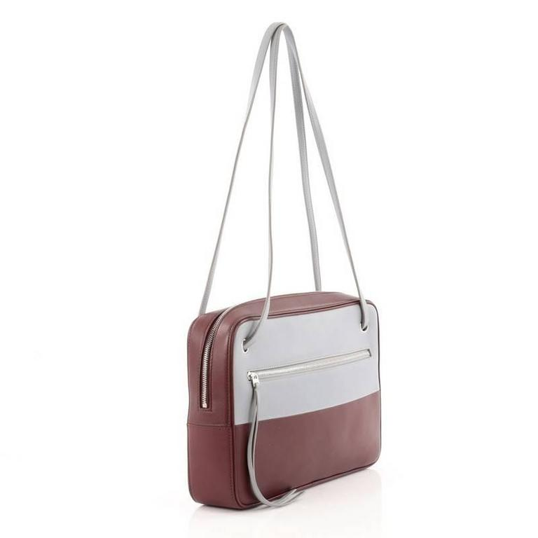 Gray Celine Bicolor Side Lock Bag Leather Medium For Sale