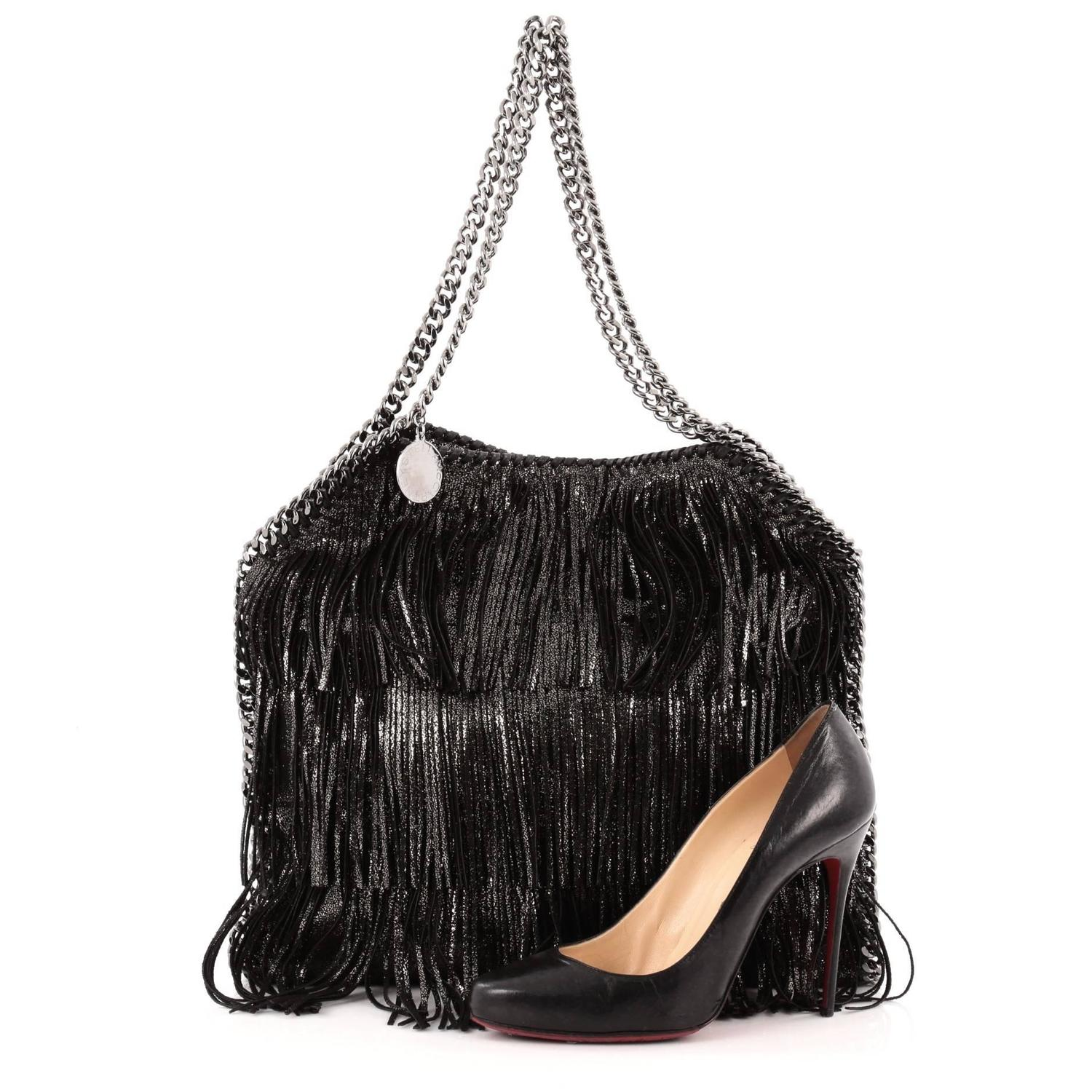 stella mccartney falabella fringe tote faux leather small for sale at 1stdibs. Black Bedroom Furniture Sets. Home Design Ideas