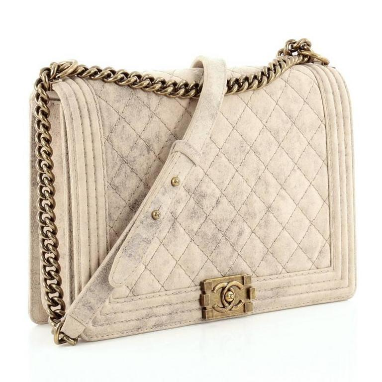 cd84662df061b0 Chanel Boy Flap Bag Quilted Distressed Suede Large In Good Condition For  Sale In New York
