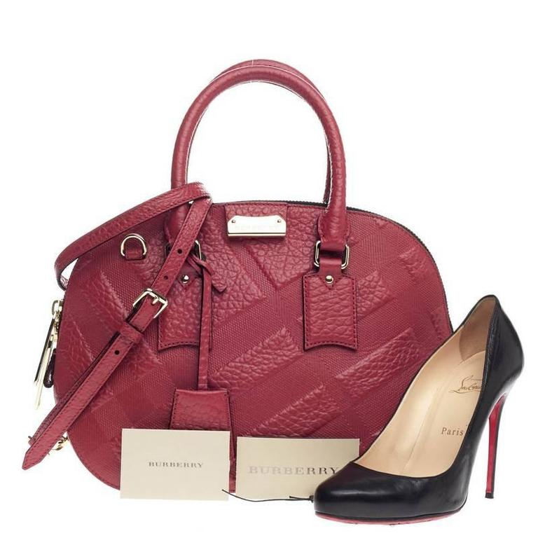 1981a427600 This authentic Burberry Orchard Bag Embossed Check Leather Small has an  elegant and simplistic design with