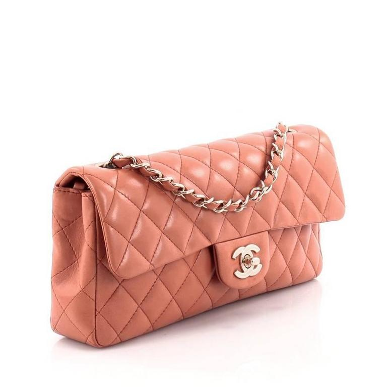cfbf8fd754ca Orange Chanel Classic Single Flap Bag Quilted Lambskin East West For Sale