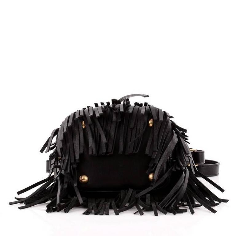 Women's or Men's Saint Laurent Fringe Emmanuelle Bucket Bag Leather Small For Sale