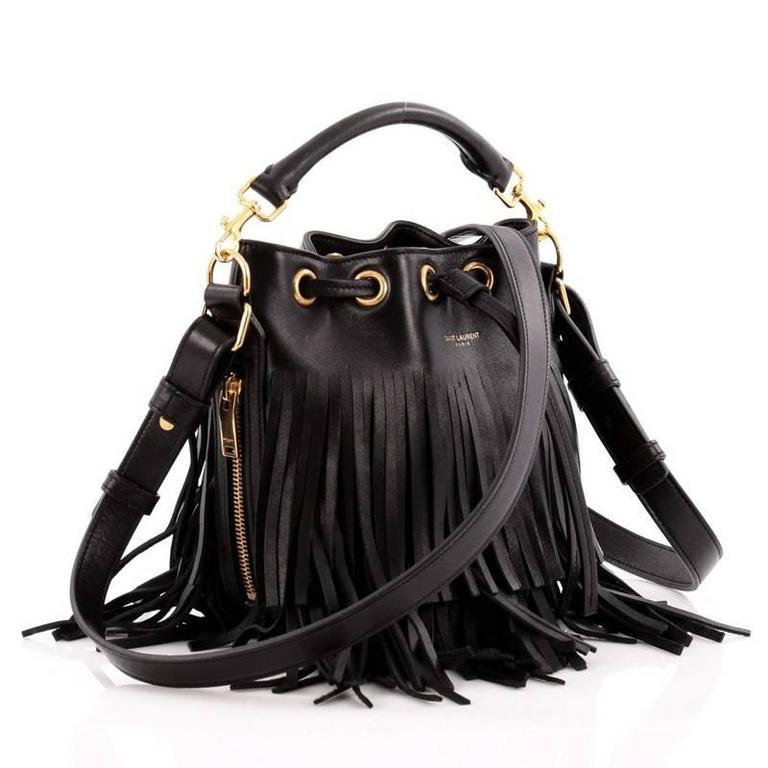 Black Saint Laurent Fringe Emmanuelle Bucket Bag Leather Small For Sale