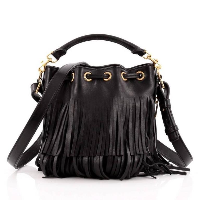 Saint Laurent Fringe Emmanuelle Bucket Bag Leather Small In Good Condition For Sale In New York, NY
