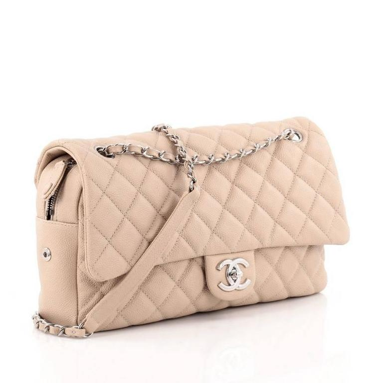 c2a906d6169e Beige Chanel Easy Flap Bag Quilted Caviar Jumbo For Sale