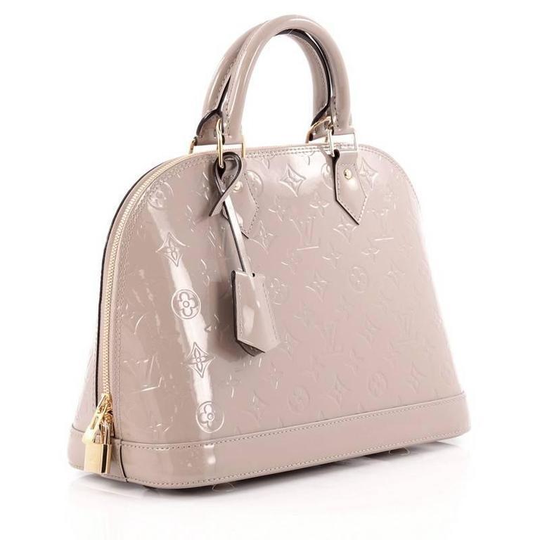 Beige Louis Vuitton Alma Handbag Monogram Vernis Pm For