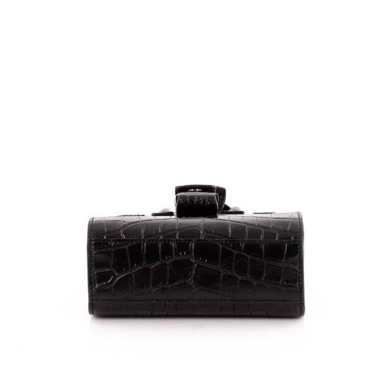 Saint Laurent Sac De Jour Handbag Crocodile Embossed