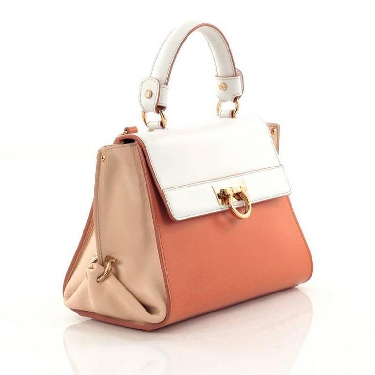 1c4e42736a8 Beige Salvatore Ferragamo Tricolor Sofia Satchel Smooth Leather Small For  Sale