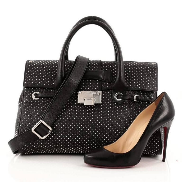 This Authentic Jimmy Choo Rosalie Convertible Satchel Studded Leather Medium Is Your Complete Luxurious Chic