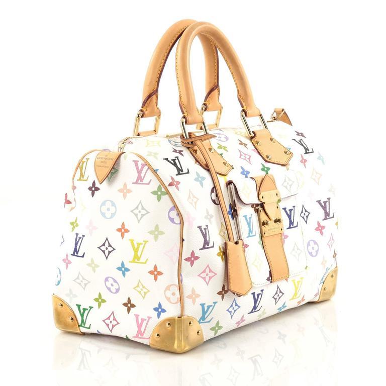 5d0a834a9c4c White Louis Vuitton Speedy Handbag Monogram Multicolor 30 For Sale