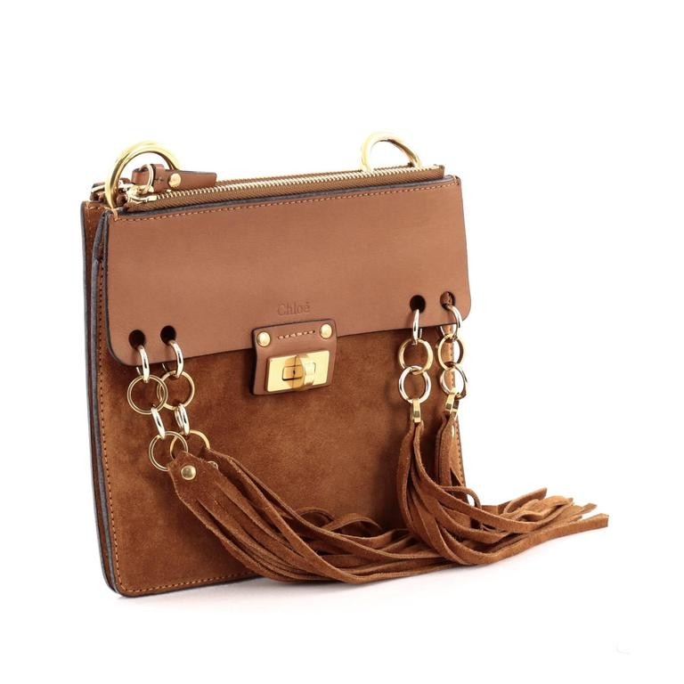 21373b324e Brown Chloe Jane Crossbody Bag Leather and Suede Small For Sale