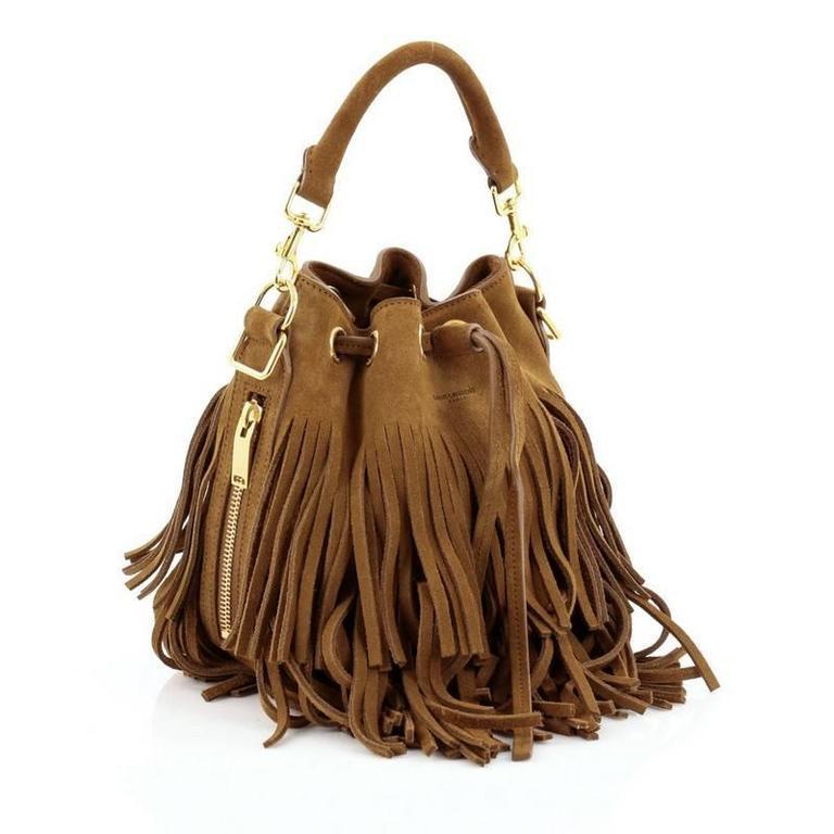 6bdcc0b8a90 Brown Saint Laurent Fringe Emmanuelle Bucket Bag Suede Small For Sale