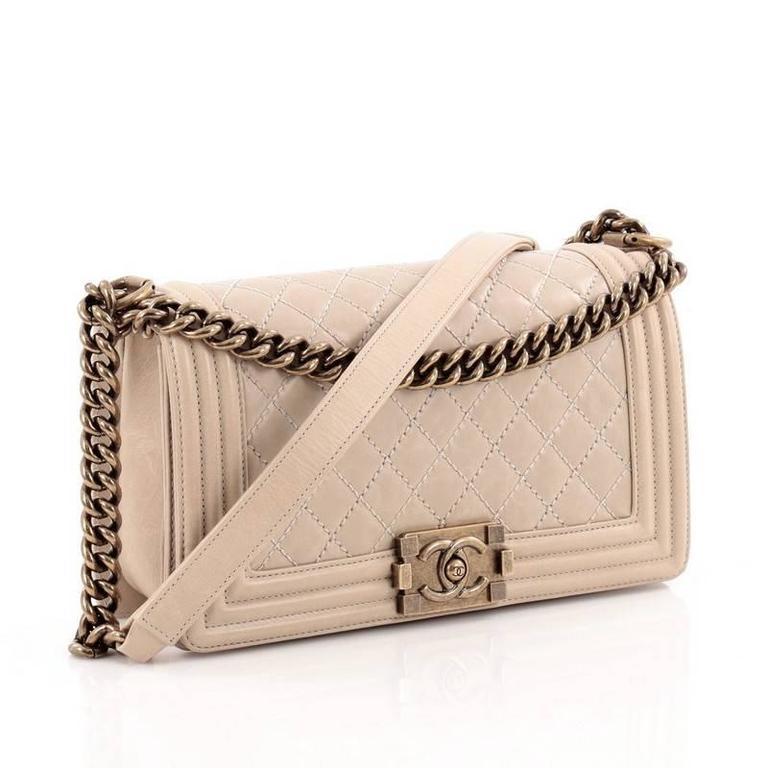 85ea13e23766f0 Beige Chanel Boy Flap Bag Quilted Glazed Calfskin Old Medium For Sale