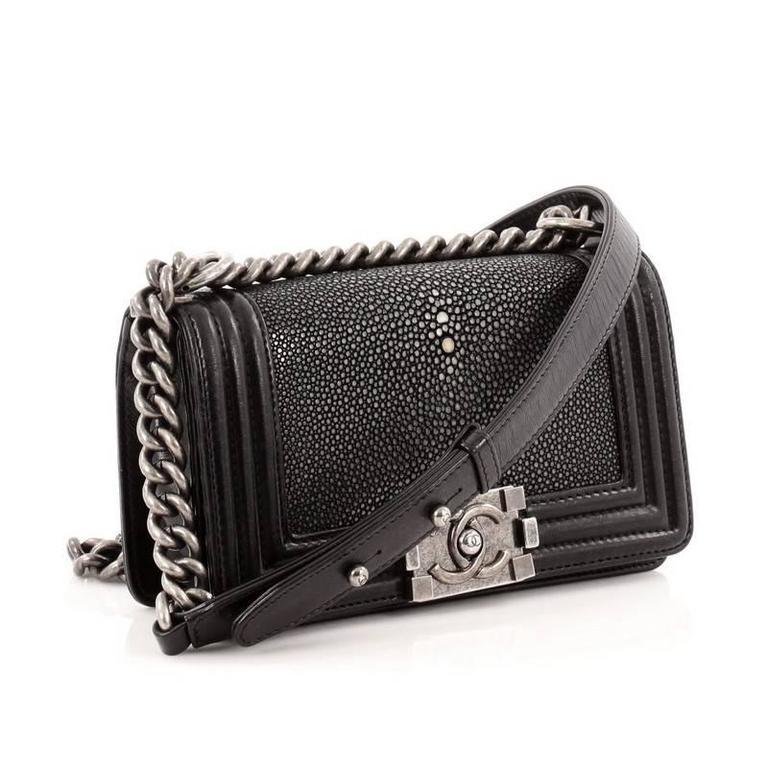 e5e2d8e287b18b Chanel Boy Flap Bag Stingray Small In Good Condition For Sale In New York,  NY